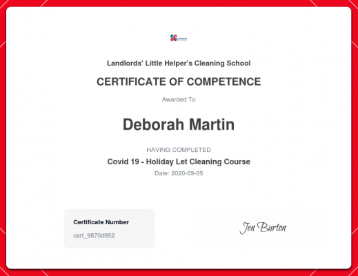 Debbie (the owner) has taken the industry-recognised course in Hygiene Protection